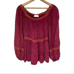 ALTAR'D STATE BOHO TOP SHIRT CRANBERRY RED SMALL